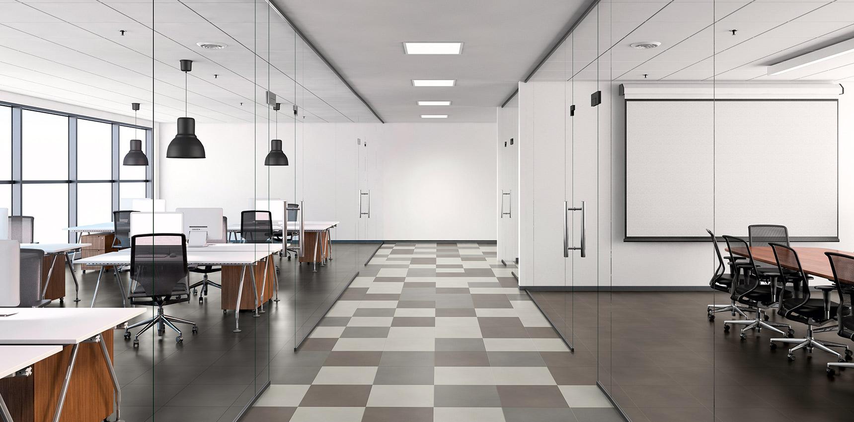 Bodenbelag Vinylboden Fliesenoptik Bürogebäude Designboden Schachbrettmuster