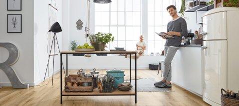 Vinylboden Loft Küche Eiche ustikal Fussboden Modern Industrial