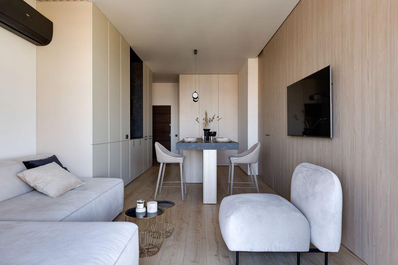 Laminatboden Hotel California LA144SYSV4 im Wohnzimmer moderne Einrichtung Holzoptik hell Essbereich