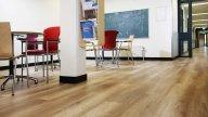 wineo Purline Bioboden Holzoptik hell modern Studienraum Tafel Tische Stühle Studienraum