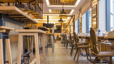 wineo Purline Bioboden Holzoptik Bar Hotel Holz Westernstyle rustikal Lounge Pflanzen
